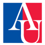 logo of American University depicting capital letters A and U overtop two rectangles of vertical color - blue on the left and red on the right.