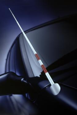 Picture of the front hood area of a black car, with a white cane for the blind in place of the car's antenna.