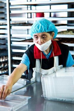 Woman wearing a hair net, works in a bakery